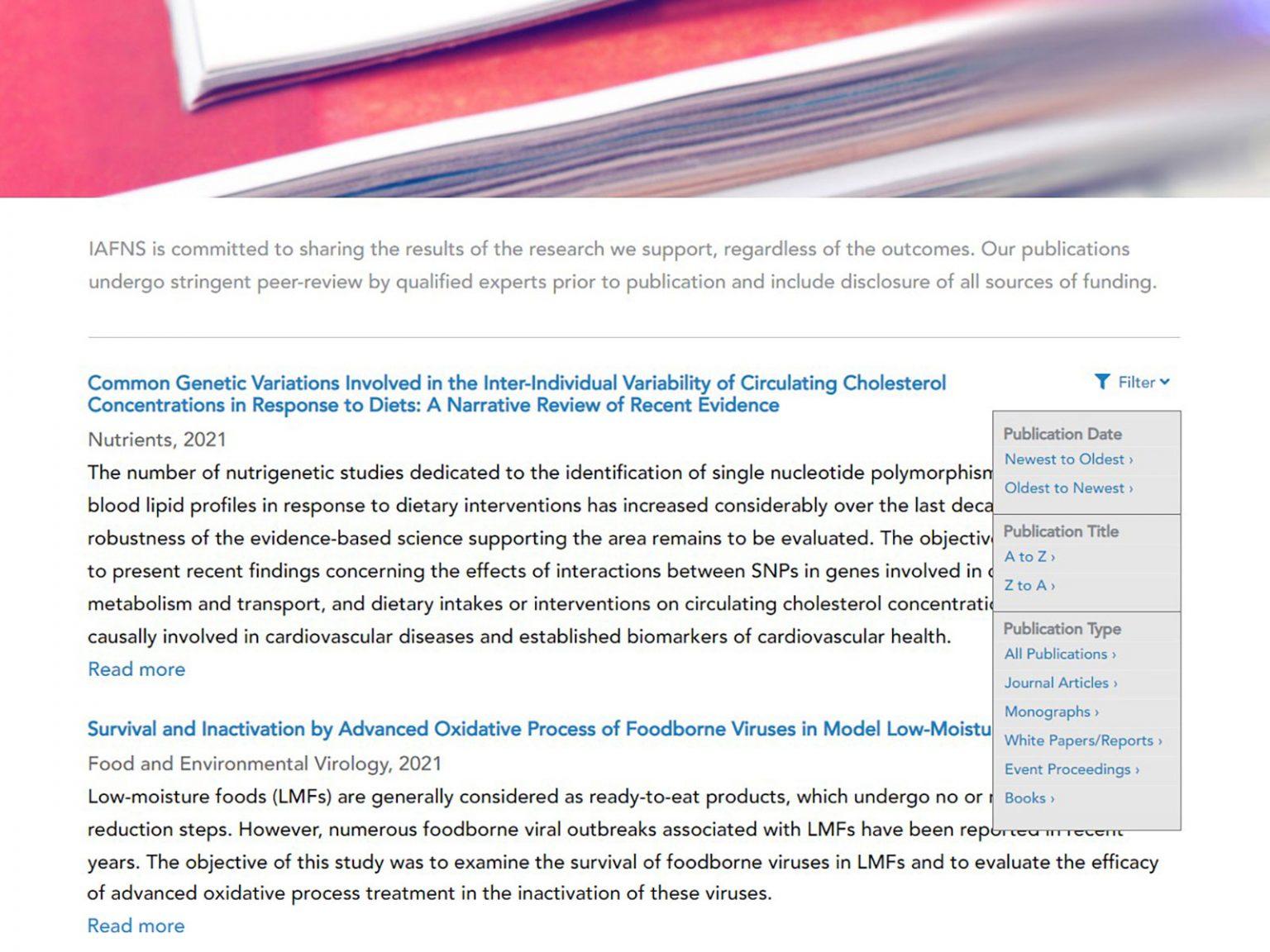publications filter