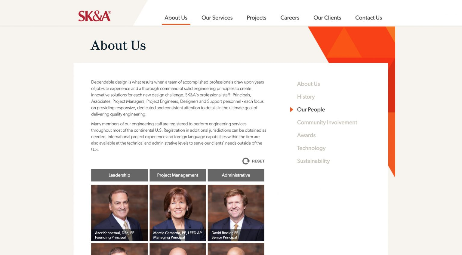 """SK&A's """"Our People"""" page"""